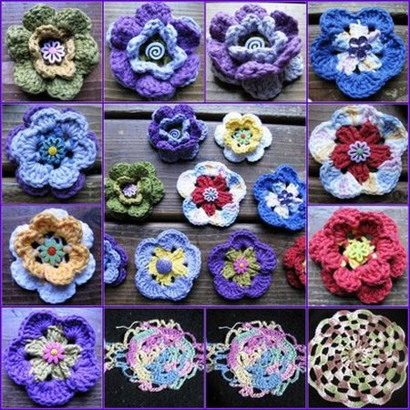 mosaic crocheted flowers