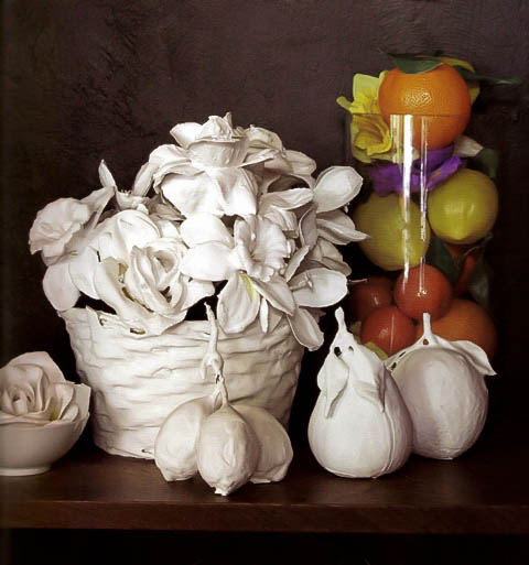plastered fake flowers and fruit