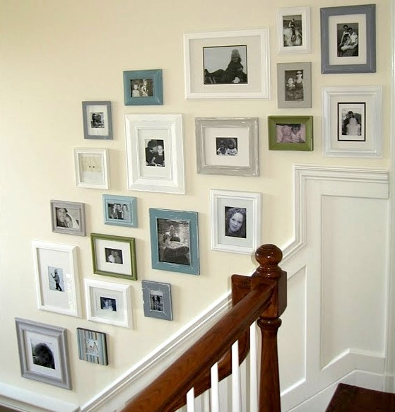 Hanging pictures on the staircase wall