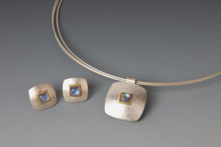 Silver, 18ct gold and rainbow moonstone necklace
