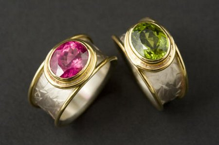 Silver, 18ct gold & tourmaline rings