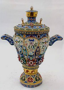 Russian Samovar decorated with enamel